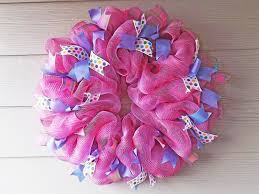 new orleans crafts by design pink and purple deco mesh wreath
