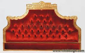 luxury gold headboard carving with red fabric sheeva vixi design