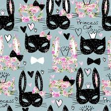 cat wrapping paper cats bunny cats seamless pattern with cats and