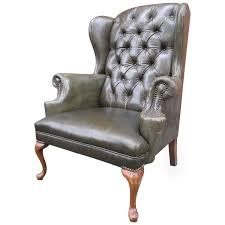 queen anne tufted leather wingback chair at 1stdibs