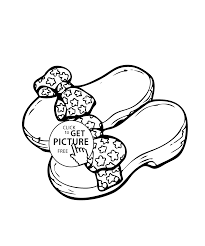 shoes with bows coloring page for girls printable free