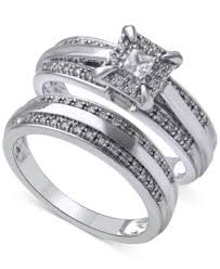 macy s wedding rings sets bridal three ring set 1 ct t w in 14k white gold