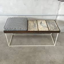 modernist steel u0026 marble bench with new houndstooth cushion
