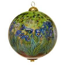 irises painted glass ornament the getty store