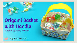 easter crafts origami basket with handle easy kids paper