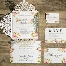 invitations for wedding flower ivory laser cut wedding invitations