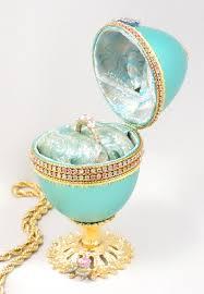 decorated goose eggs turquoise ring holder jeweled wedding ring box faberge decorated