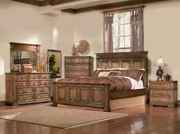 Oak Bed Set Panel Bed Edgewood Bedroom Set In Distressed Warm Brown Oak