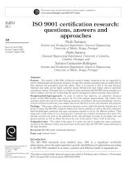 iso 9001 certification research questions answers and approaches