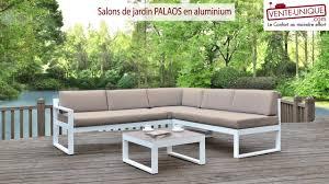 salon de jardi salons de jardin palaos en aluminium gris taupe