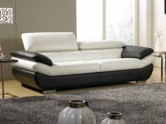 canape cuir blanc et gris canapés 3 places cuirs design