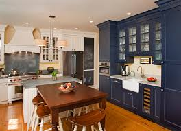 blue cabinets in kitchen thomasville cabinets kitchen farmhouse with beadboard beige walls