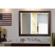 Beveled Bathroom Mirror by 25 5 In X 31 5 In American Walnut Rounded Beveled Wall Mirror