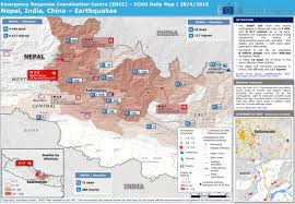 map of nepal and india nepal india china earthquakes echo daily map 28 4 2015