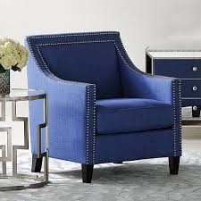 Nailhead Accent Chair Amazon Com Flynn Navy Blue Upholstered Armchair Office Products