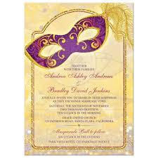 masquerade wedding invitations magical masquerade wedding invitation purple gold