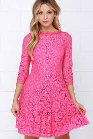 pink dress beautiful lace dress pink dress skater dress 64 00
