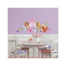 roommates 5 in x 19 in giant disney princess castle 7 piece wall disney princess palace pets wall graphic