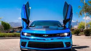 blue chevrolet camaro chevrolet camaro 5th ss blue chrome vertical lambo doors by