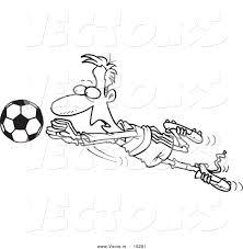 vector of a cartoon soccer goalie leaping towards a ball