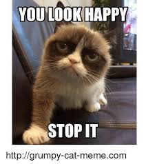 Grumpy Kitty Meme - you look happy stop it httpgrumpy cat memecom meme on me me