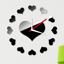 creative clocks removable room decar loving heart wall clock sticker set creative
