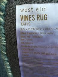west elm vines runner rug carpet 2 5x7 nwt blue lagoon what u0027s it