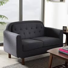Upholstered Loveseat Chairs Baxton Studio Virginia Mid Century Modern Dark Grey Fabric
