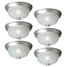 Ceiling Mounted Light Fixture by Shop Project Source 6 Pack 10 In W Painted Brushed Nickel Flush