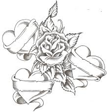pencil sketches of hearts and roses group 42