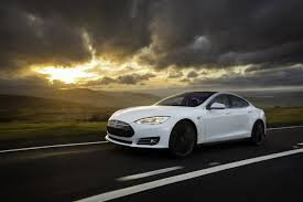 sports cars side view tesla model s white exterior front side view green machine
