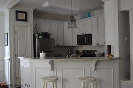 White Chalk Paint Kitchen Cabinets by Furniture Barstools And Corbels With Granite Countertops Also