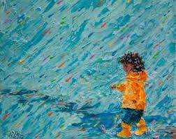 original painting black mother daughter in rain puddle