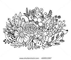 coloring page flowers leaves vector pattern stock vector 468911987