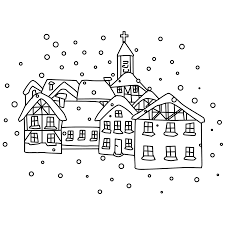 coloring pages winter lanscape coloring