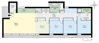 plan maison contemporaine plain pied 3 chambres maison plain pied en longueur