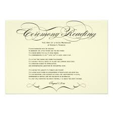ceremony cards script wedding ceremony reading invitation card