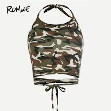 army pattern crop top romwe camo print crop top halter strappy camisole women crisscross