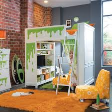 White Wooden Bunk Bed With Ladder On Orange Fur Rug Connected By - The brick bunk beds