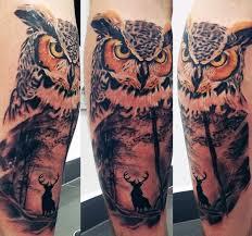 Guys Calf - owl tattoos for guys on leg calf owl tatoos