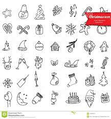 christmas icons sketch drawing for your design stock photography