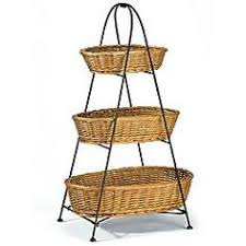 fruit basket stand 21 tiered wire rack countertop 3 shelves with wicker baskets