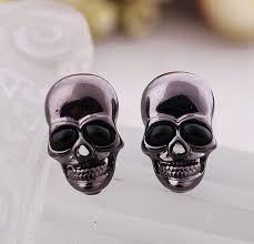 skull stud earrings cool rock tengkorak onyx black skeleton skull stud