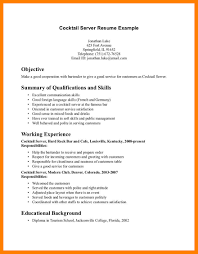 Cocktail Server Resume Resume Descriptions Eliolera Com