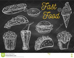 fast food snacks and drinks chalk sketch icons stock vector