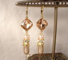 vintage blush pink rhinestone u0026 champagne and ivory pearl gold