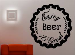 Wall Art Quotes Stickers Enjoy Beer Wall Art Quote Sticker Vinyl Decor Kitchen Lounge Pub