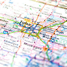 map of tulsa travel map of oklahoma around tulsa stock photo image 42374196