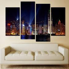 canvas painting for home decoration 4 panels city night painting canvas wall art picture home