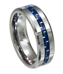 blue wedding rings tungsten wedding ring w blue carbon fiber inlay 8mm promise band